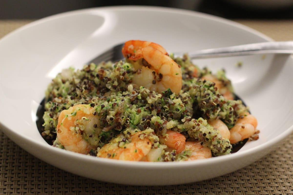 """Stir-Fried Shrimp With """"Zucchini Quinoa"""""""