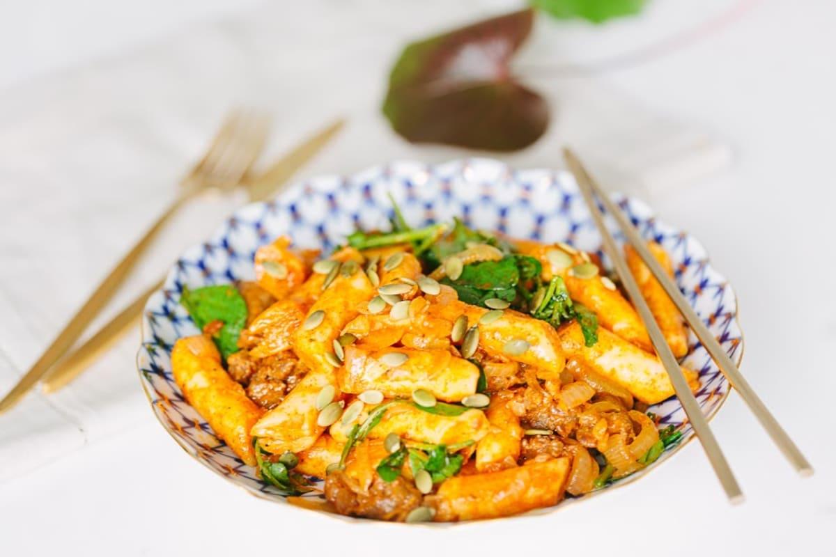Spicy Rice Cakes with Chorizo, Greens and Pepitas Recipe