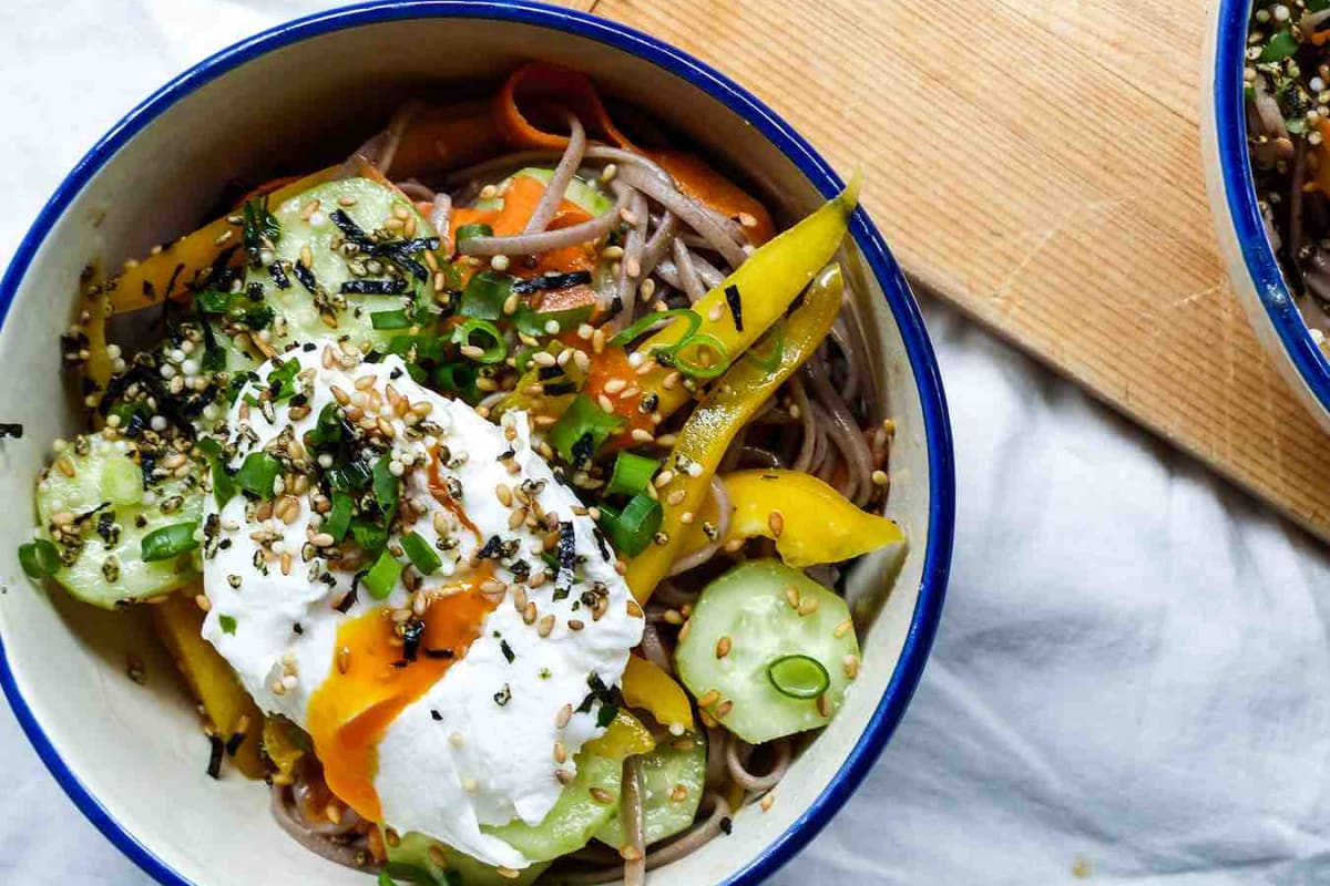 Soba Salad and Poached Eggs with Furikake and Ginger Miso Vinaigrette