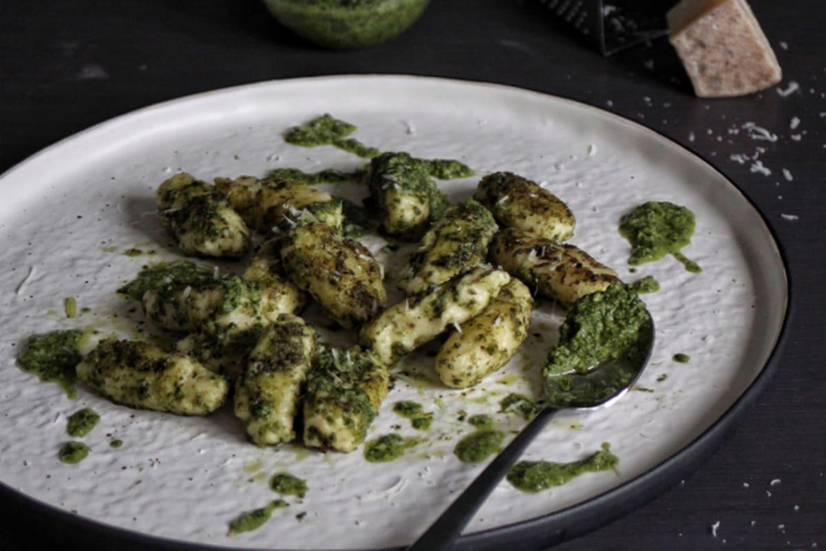 Recipe: Ricotta Gnudi with Kale and Walnut Pesto