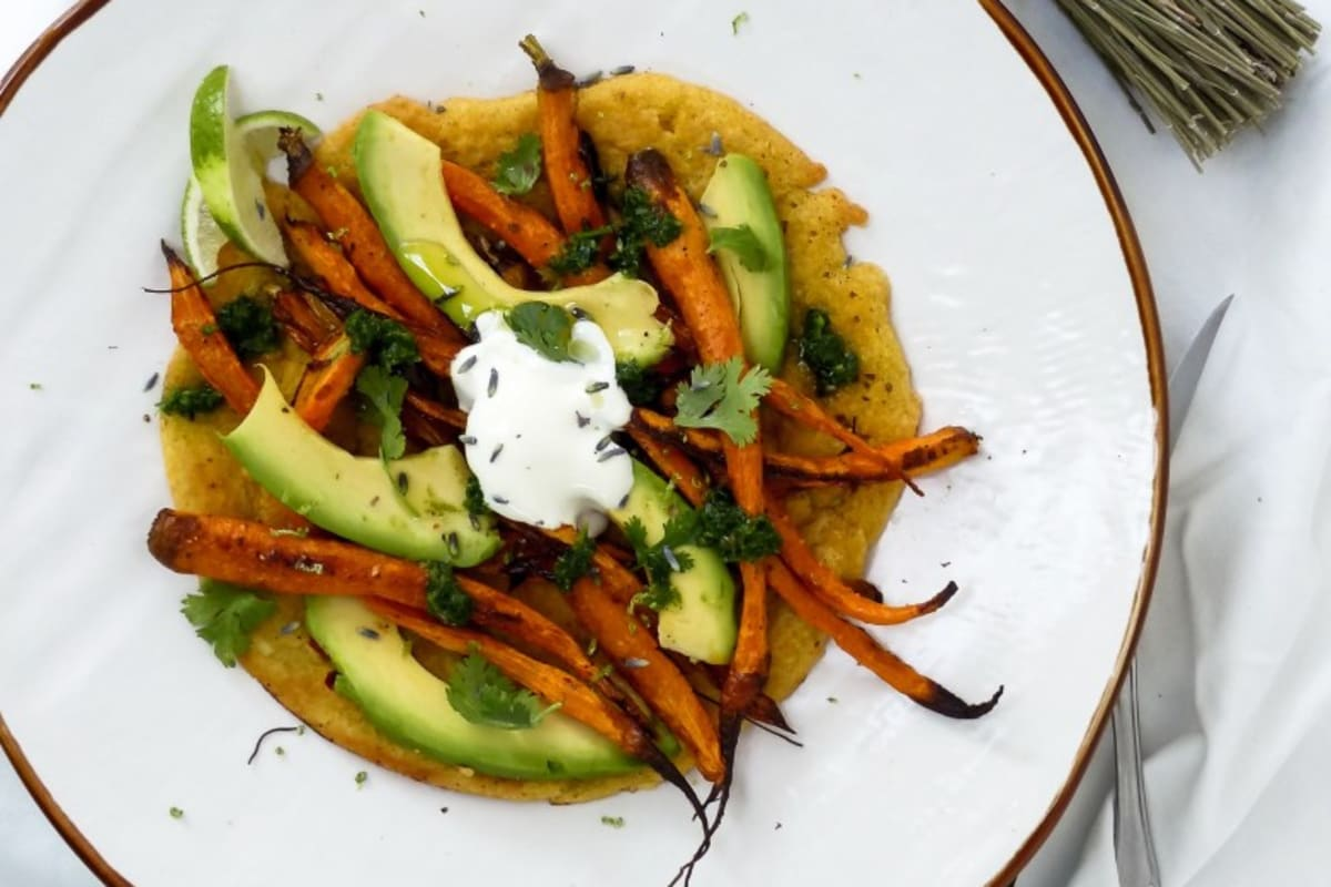 Recipe: Roasted Carrot and Avocado Farinata