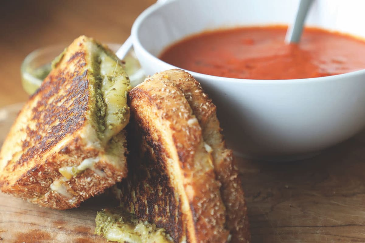 Recipe: Roasted Tomato and Pepper Soup with Pesto Grilled Cheese