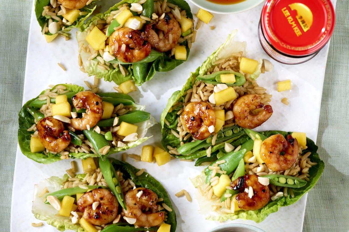 Lee Kum Kee Recipe: Char Siu Prawn, Mango and Rice Lettuce Cups
