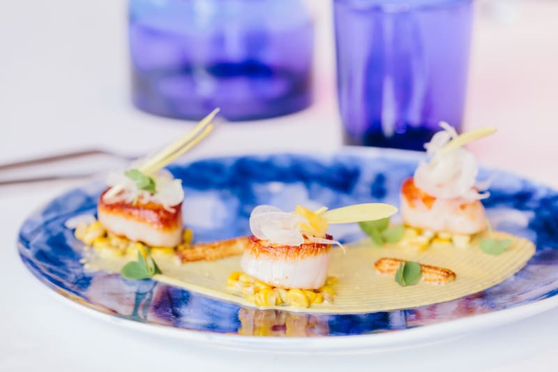Pan Seared Scallops with Corn Textures Recipe [Magazine Feature]