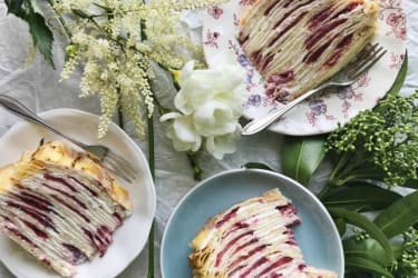 Strawberry-Elderflower Crêpe Cake