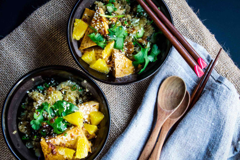 Orange Glazed Tofu with Stir-fry Chinese Vegetables and Quinoa