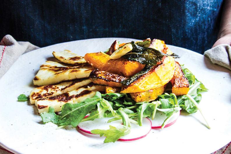 Spicy Garlic & Sage Pumpkin With Halloumi Salad