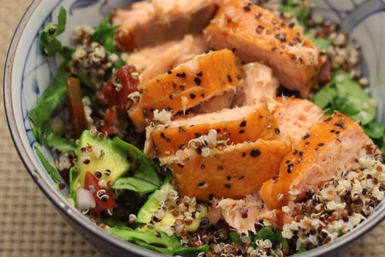 Tri-Colour Quinoa and Smoked Salmon Salad – an Omega-3 Super Booster