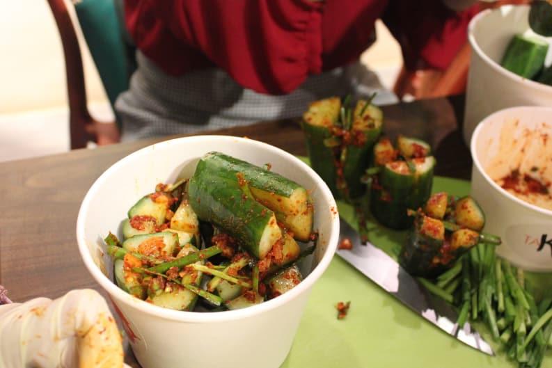 Cucumber Kimchi Class at TaKorea