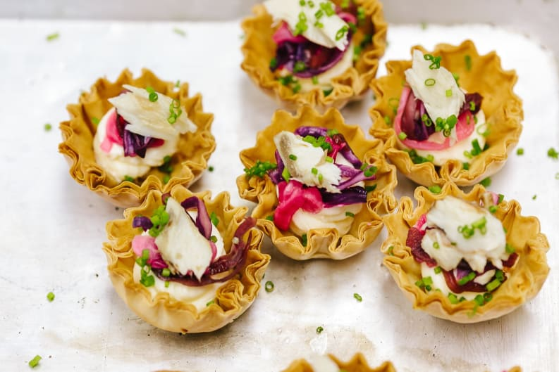 Smoked Mackerel & Pickled Red Cabbage Filo Tartlettes Recipe [Magazine Feature]
