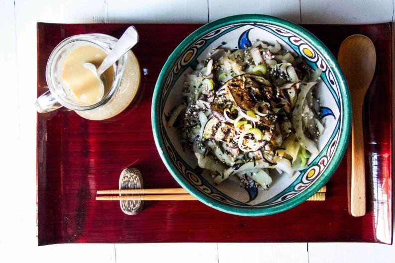 Grilled Eggplant & Shiitake with Cabbage Soba Salad