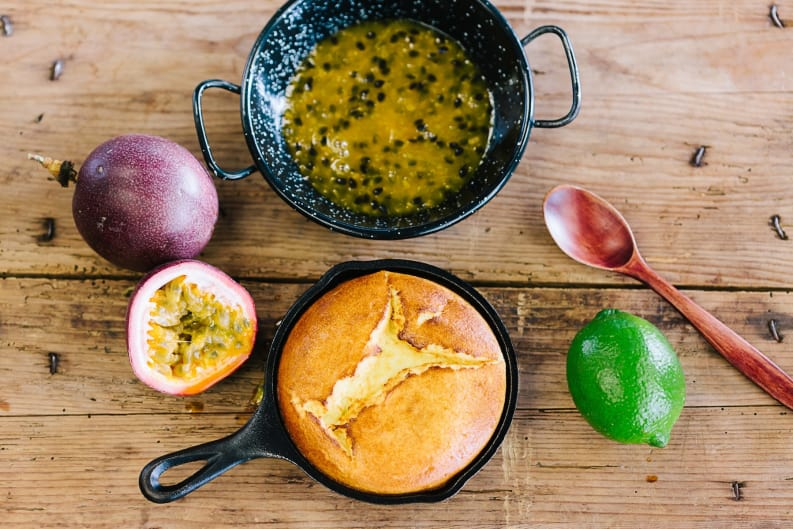 Ricotta Pancake with Passion Fruit Lime Coulis Recipe [Magazine Feature]