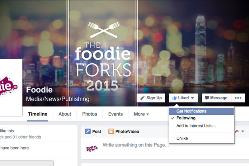 Get Facebook to Deliver Foodie News