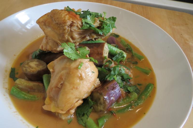 Homely Chicken, Aubergine and Green Bean Stew