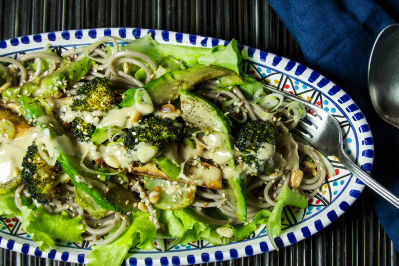 Soba Salad with Roasted Broccoli, Avocado and Tofu Recipe