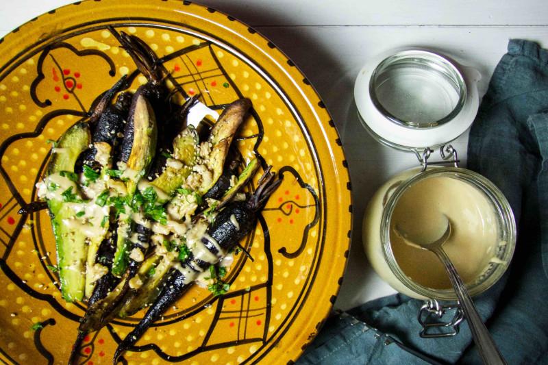 Roasted Purple Carrots & Avocado with Tahini Dressing