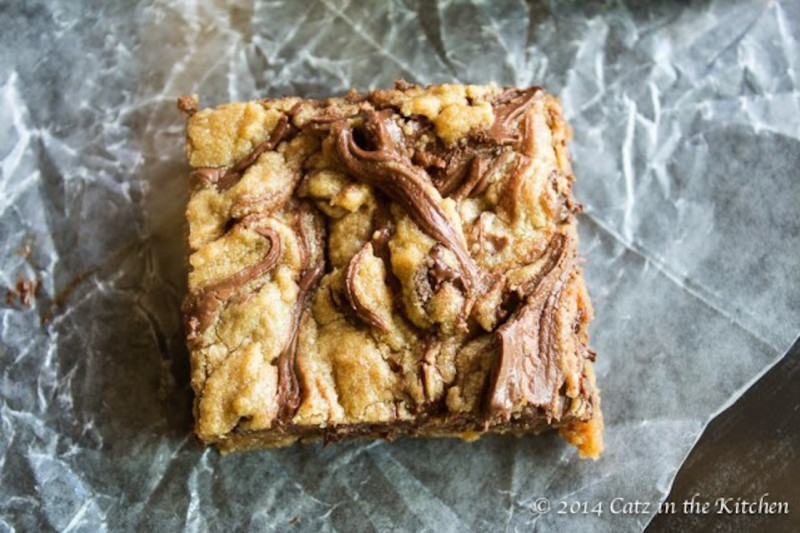 RECIPE: Nutella Marbled Blondies with Salted Almonds