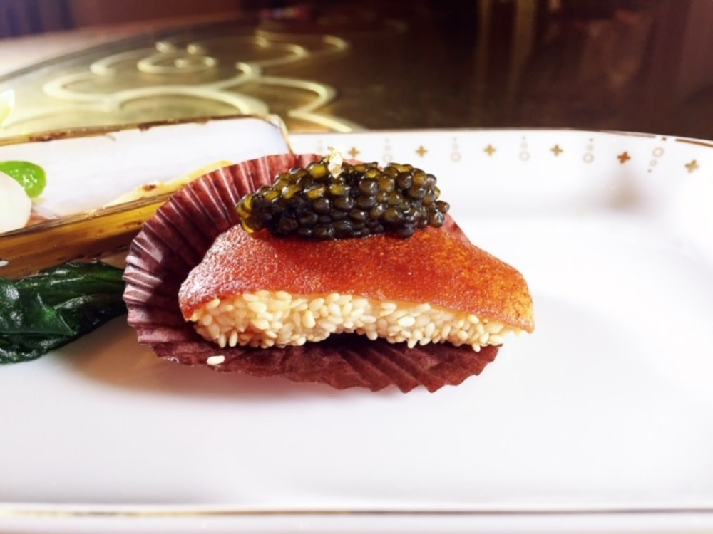 Wing Lei Palace Macau crispy pork with caviar and shrimp