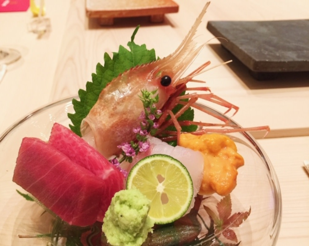 Seasonal sashimi with toro, flounder, uni and spot prawn