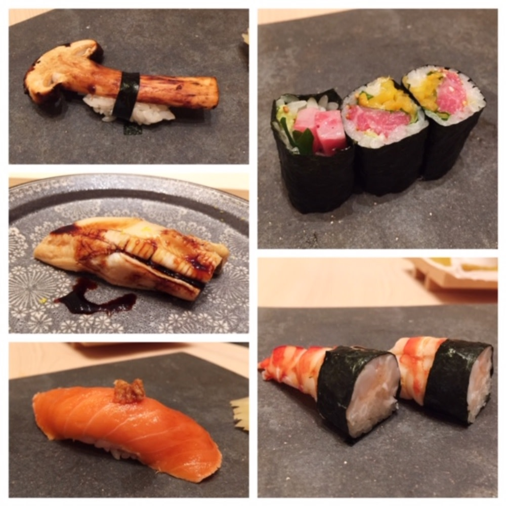 Clockwise from top left: matsutake mushroom sushi, toro and pickled vegetables sushi, prawn sushi, king salmon sushi, anago sushi