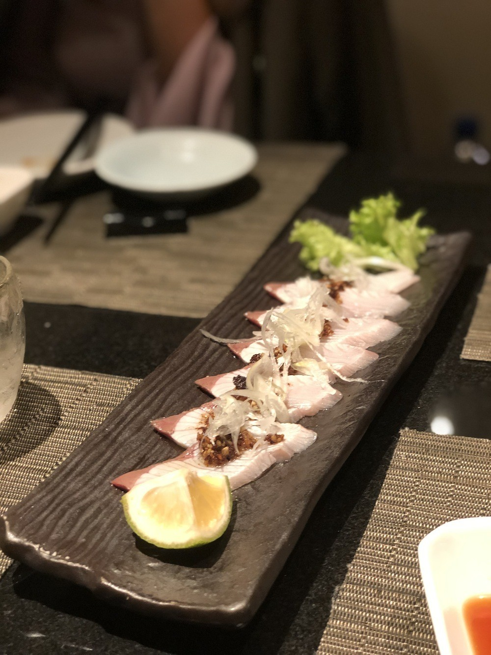 Seared kabosu-buri (yellowtail) sashimi