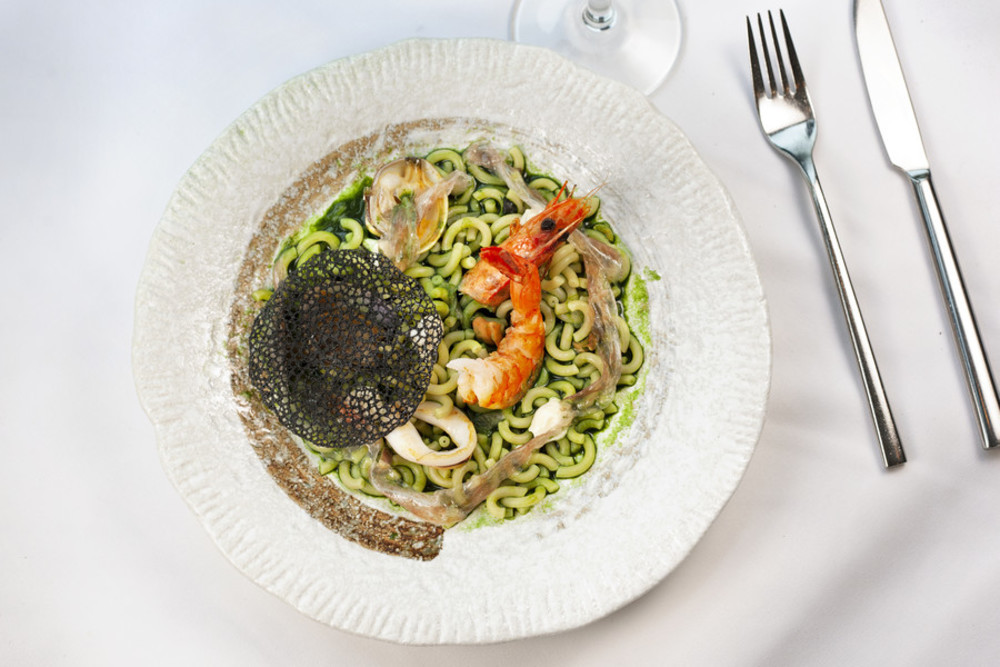 Image title Plankton noodles with seafood and pancetta at FoFo by el Willy
