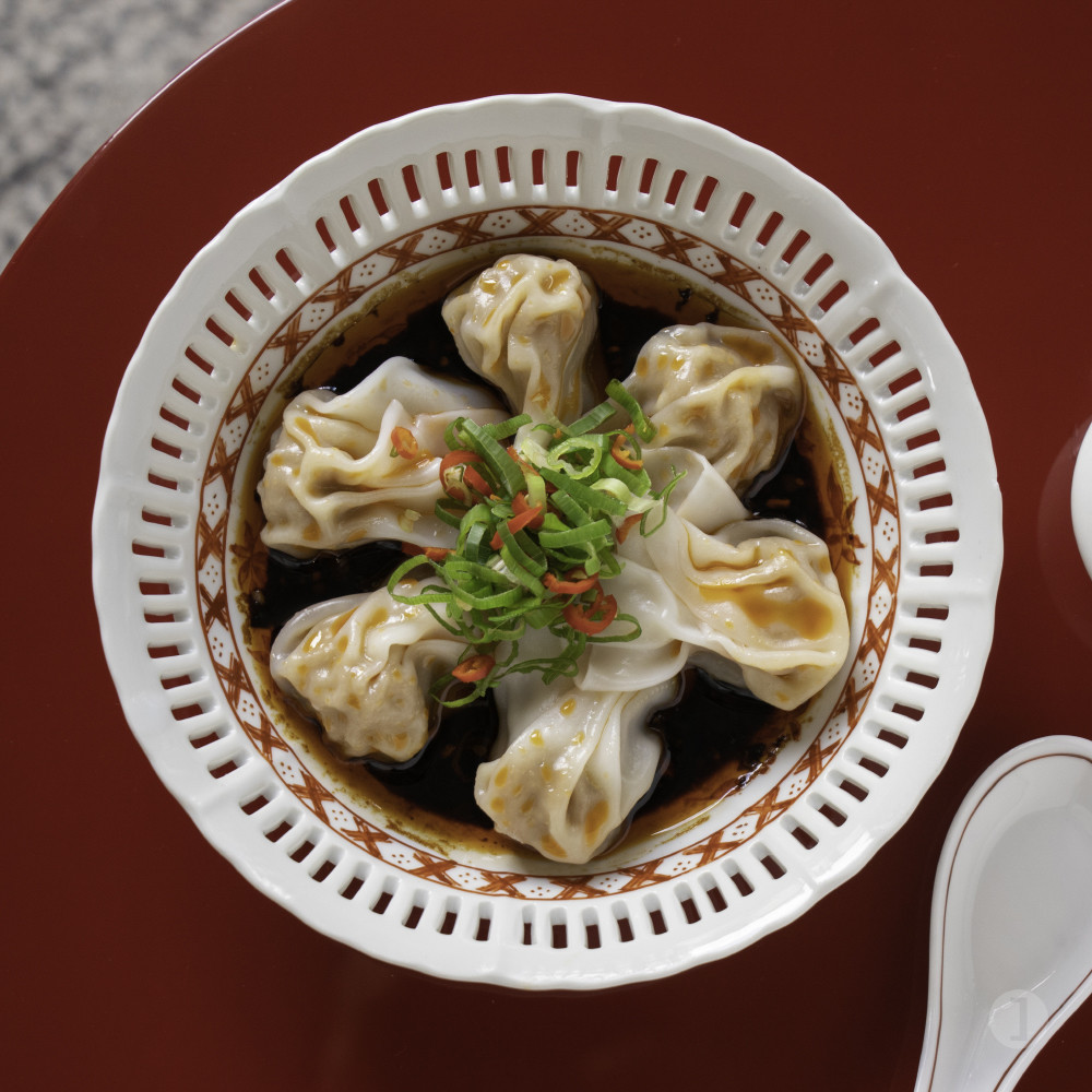 Wontons with Ibérico pork in Shanghai chilli sauce from Old Bailey