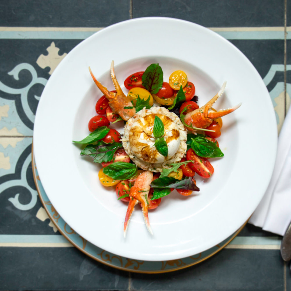 Crab salad and burrata from Fishsteria