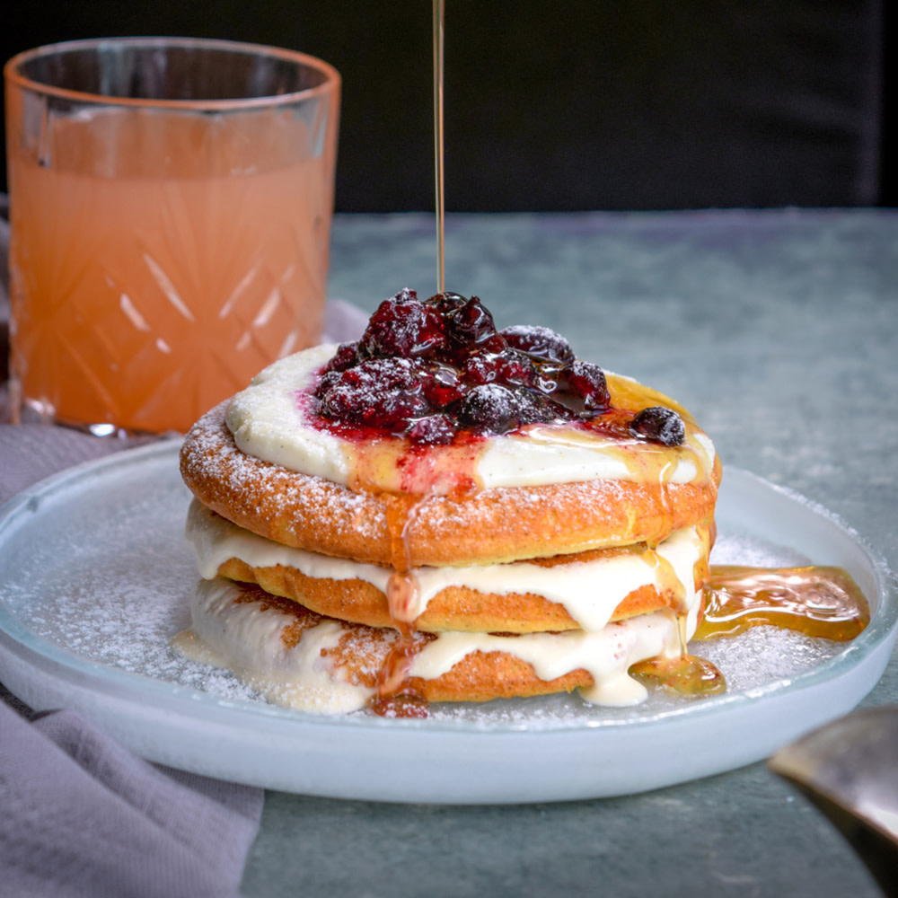 Buttermilk pancakes with blueberries, vanilla crème fraiche and maple syrup from Aberdeen Street Social
