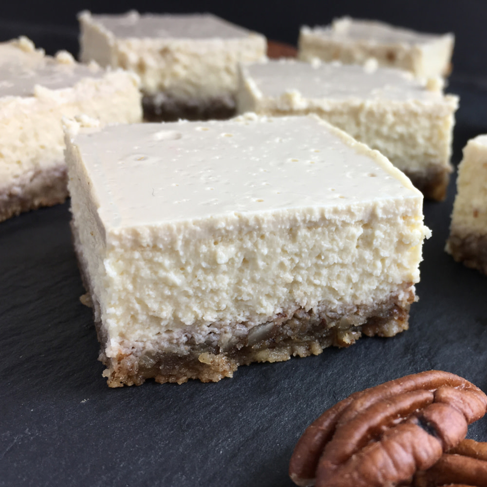 Creamy cheesecake squares with nut crust