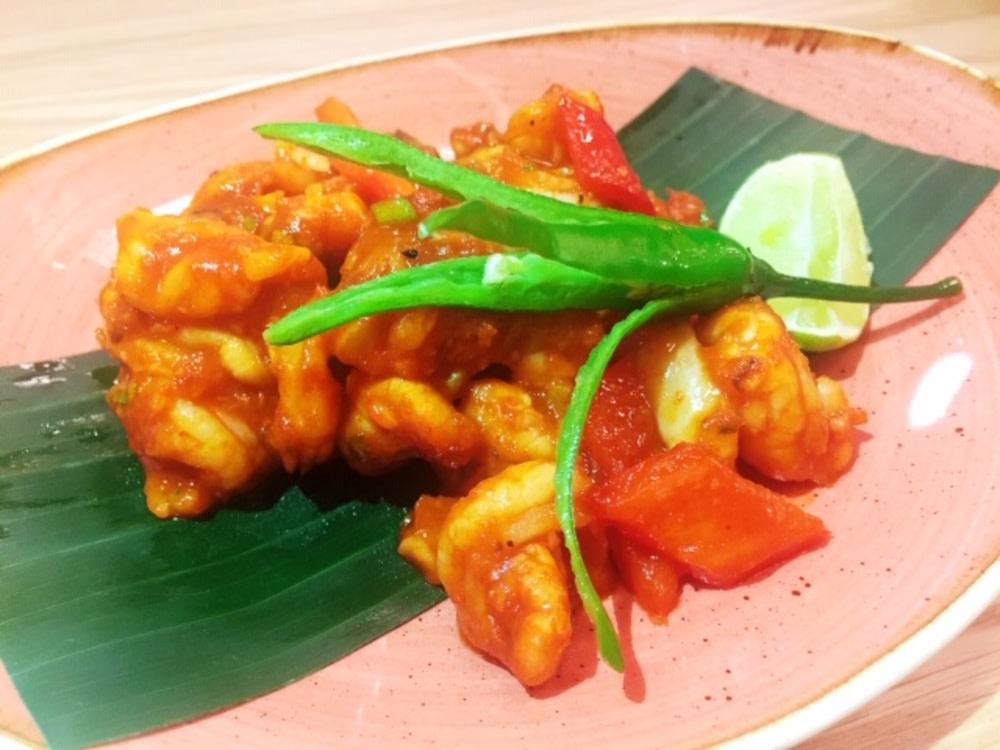 Devilled shrimp