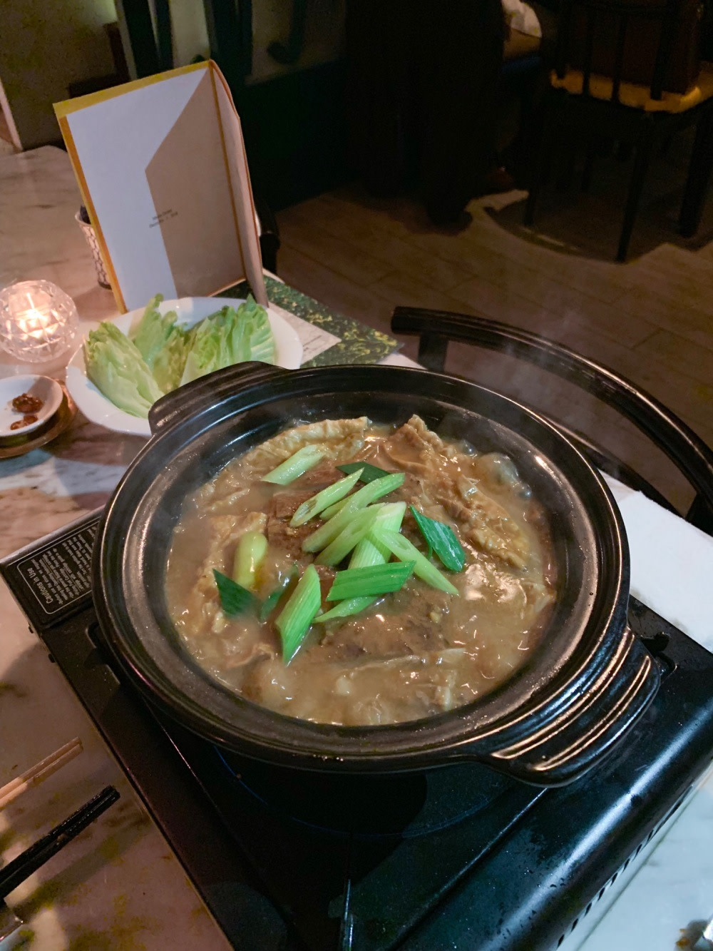 Braised lamb brisket with bean curd sheets in clay pot