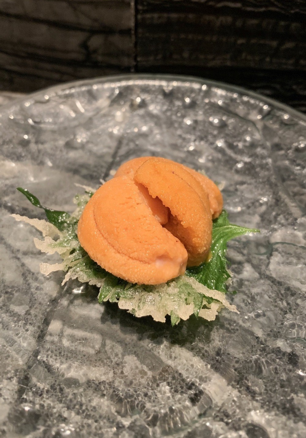 Uni on a tempura shiso leaf