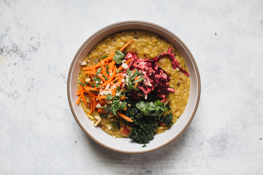 Red lentil dahl, VEDA Vegetarian Restaurant at Ovolo Central