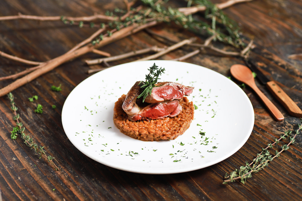 Pan-seared royal pigeon with meloso rice