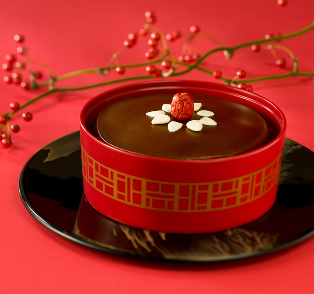 Ming Court's aged Pu'er tea, dark brown sugar and coconut Chinese New Year pudding