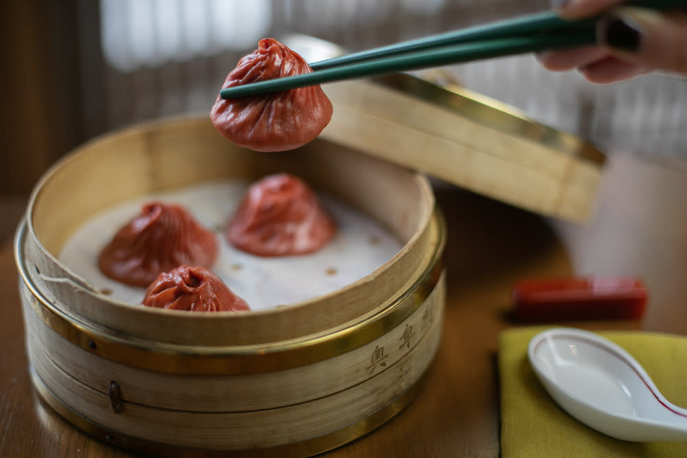 Image title  Mala xiao long bao (spicy Ibérico pork soup dumplings) from Old Bailey