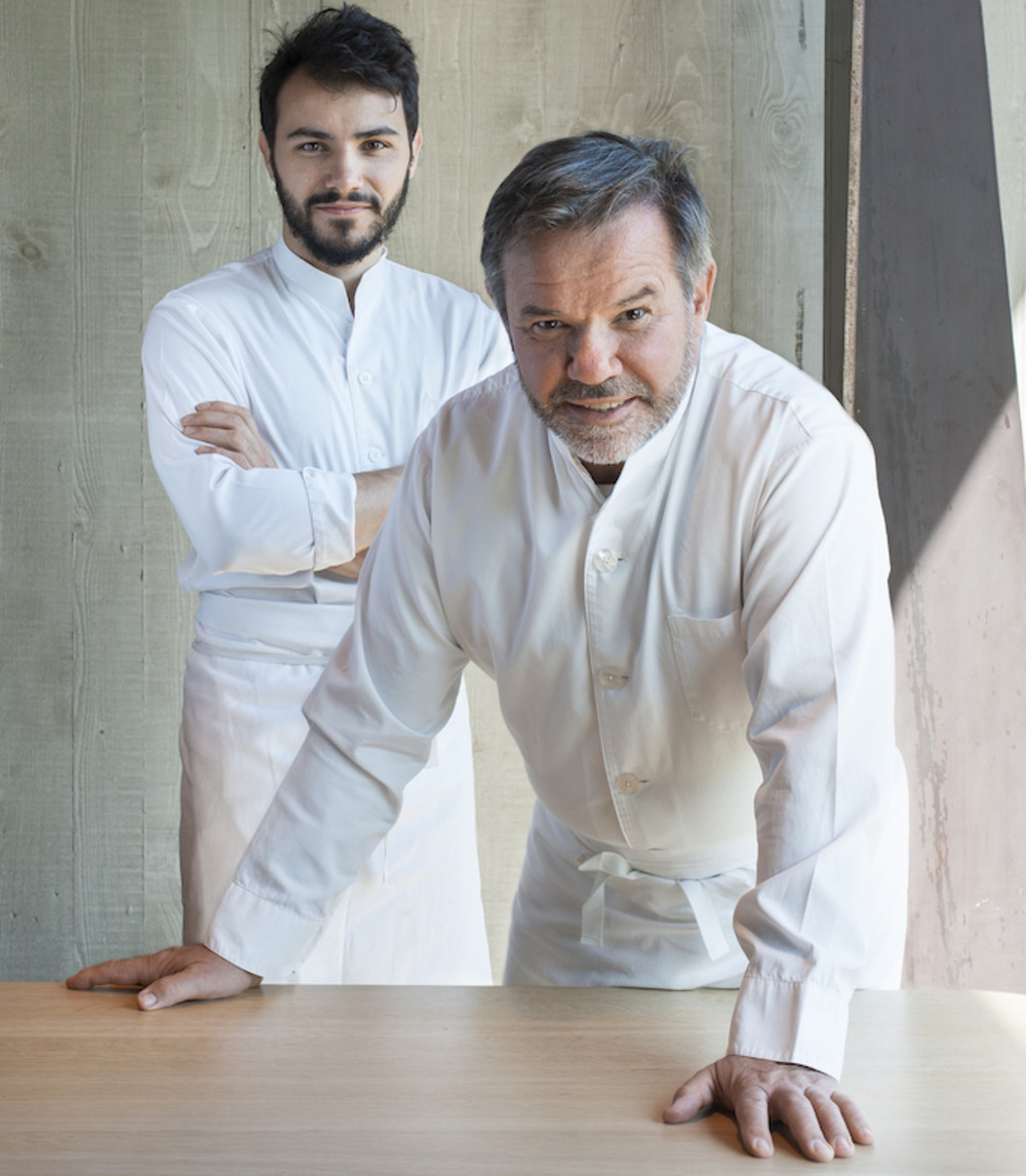 Chefs Michel (foreground) and Léo Troisgros