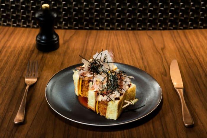 Cheese & Taiyouran Egg Omelette Katsu Sando with Takoyaki Sauce, Nori & Katsuobushi at SOMM