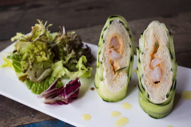Cucumber and fresh shrimp rolls