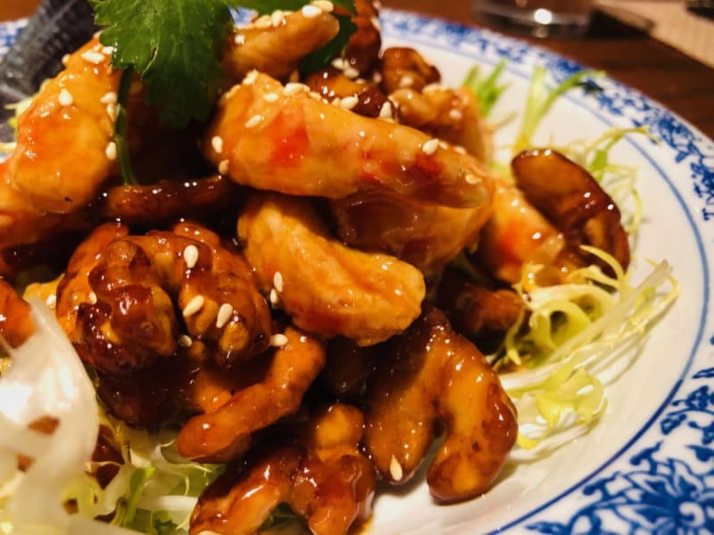Marinated vegan prawns with walnuts in sweet-and-sour sauce at North (The Venetian Macao)