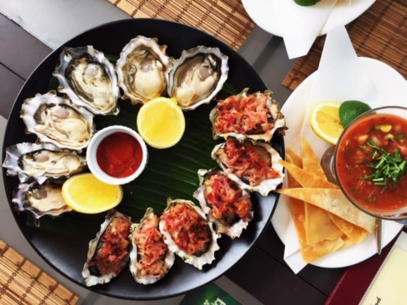 Oysters and shrimp and crab campechana at Waterfront Bar & Terrace, Harbour Grand Kowloon Hong Kong