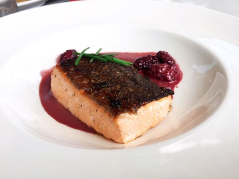 Seared salmon with blackberry sauce at Waterfront Bar & Terrace, Harbour Grand Kowloon