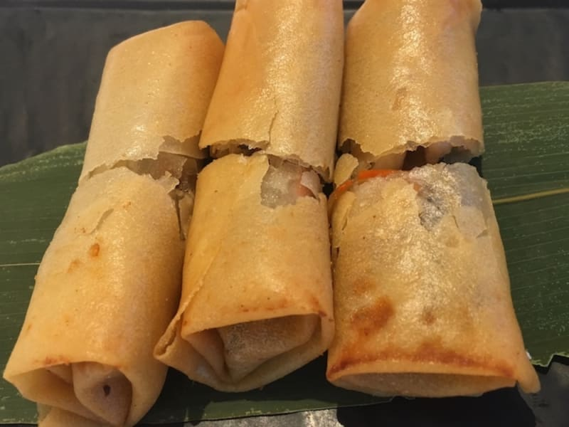 Deep-fried spring rolls with shredded chicken at Man Hing Hong Kong