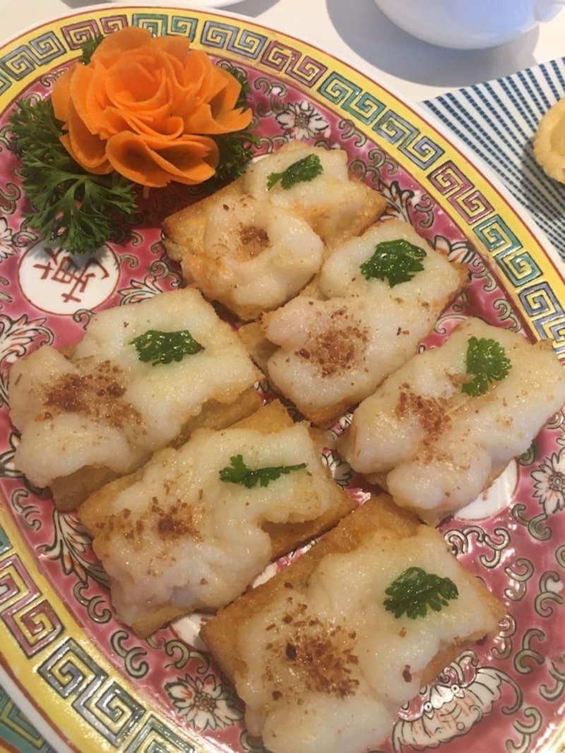 Pan-fried shrimp toast in traditional style at Man Hing Hong Kong