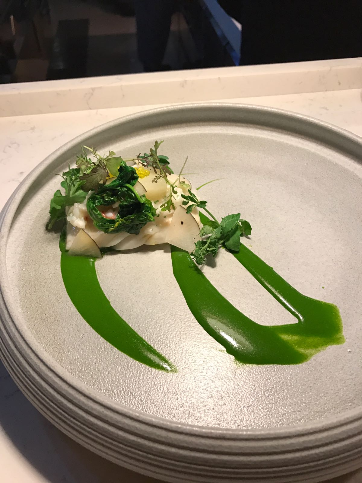 More confused than delicious - turbot, faux squid risotto, lobster, turnips, watercress emulsion