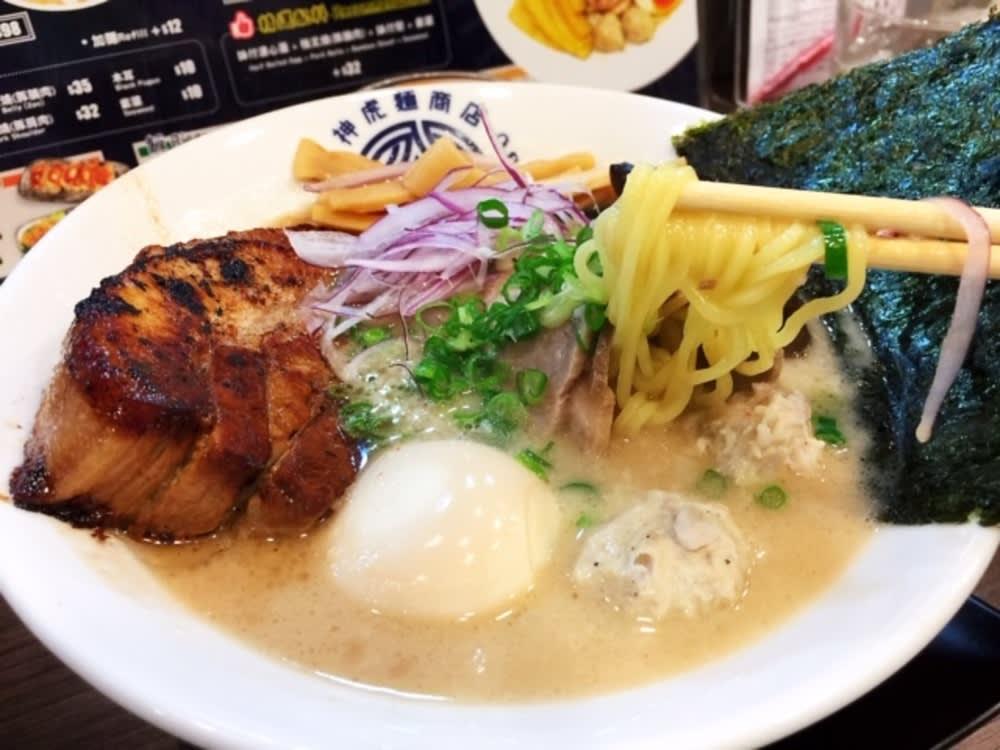 Pork belly ramen at Kamitora Tonkotsu Hong Kong