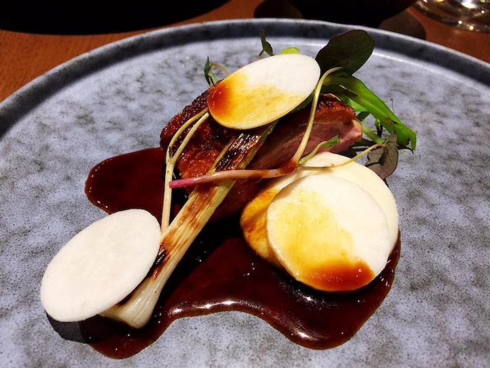 Duck with turnip, spiced red vinegar at Roganic Hong Kong