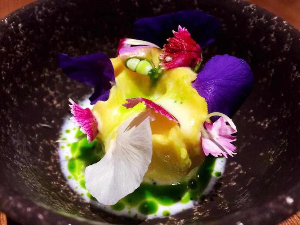 Yellow beetroot, buttermilk and mint at Roganic Hong Kong