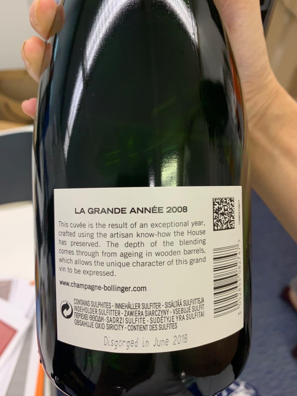 ames Bond Champagne Bollinger La Grande Année 2008